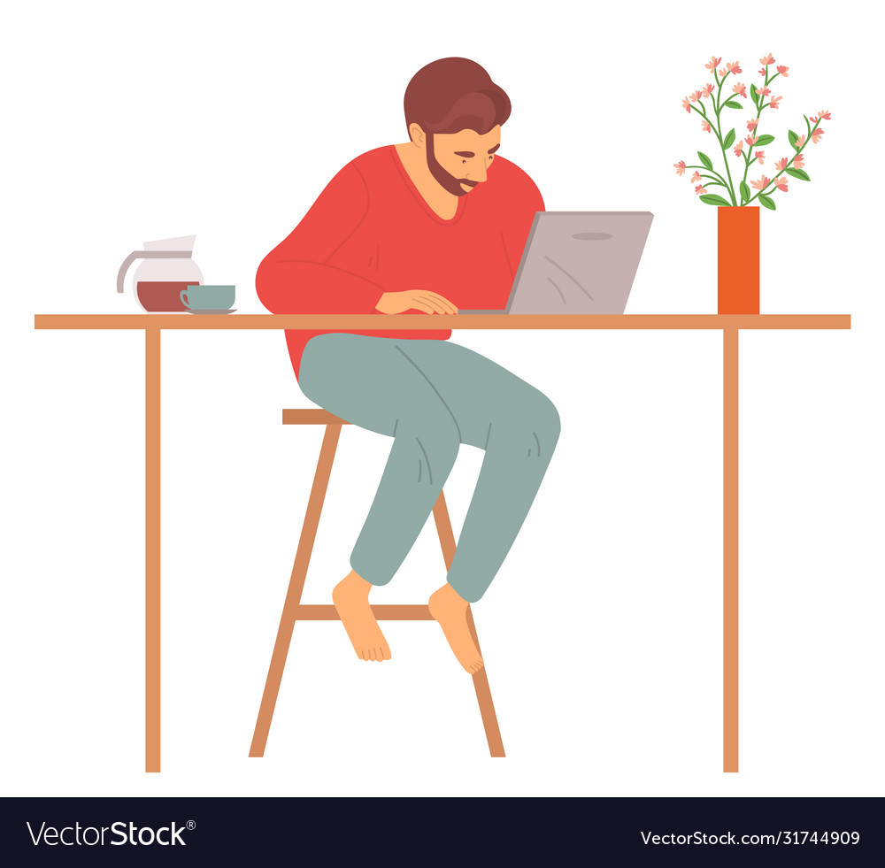 Man at home sitting computer freelancer