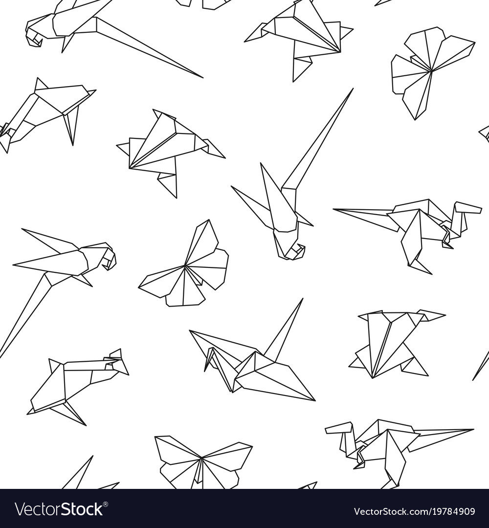 Seamless Pattern With Origami Animals Royalty Free Vector
