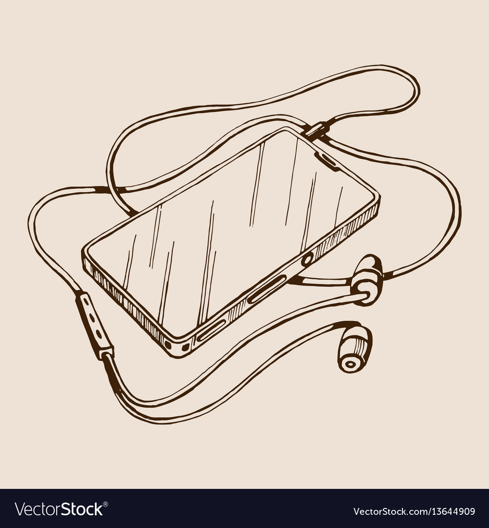 Sketch smart phone with headphones and