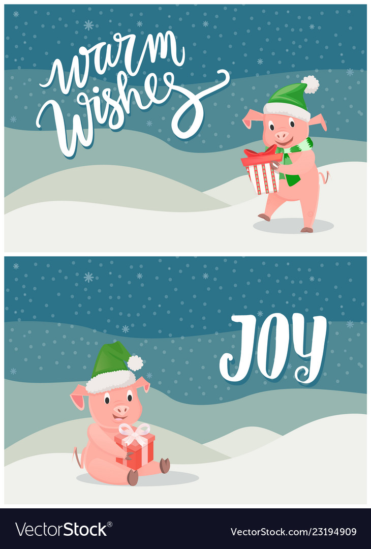 Warm wishes and joy greeting cards piglets symbol