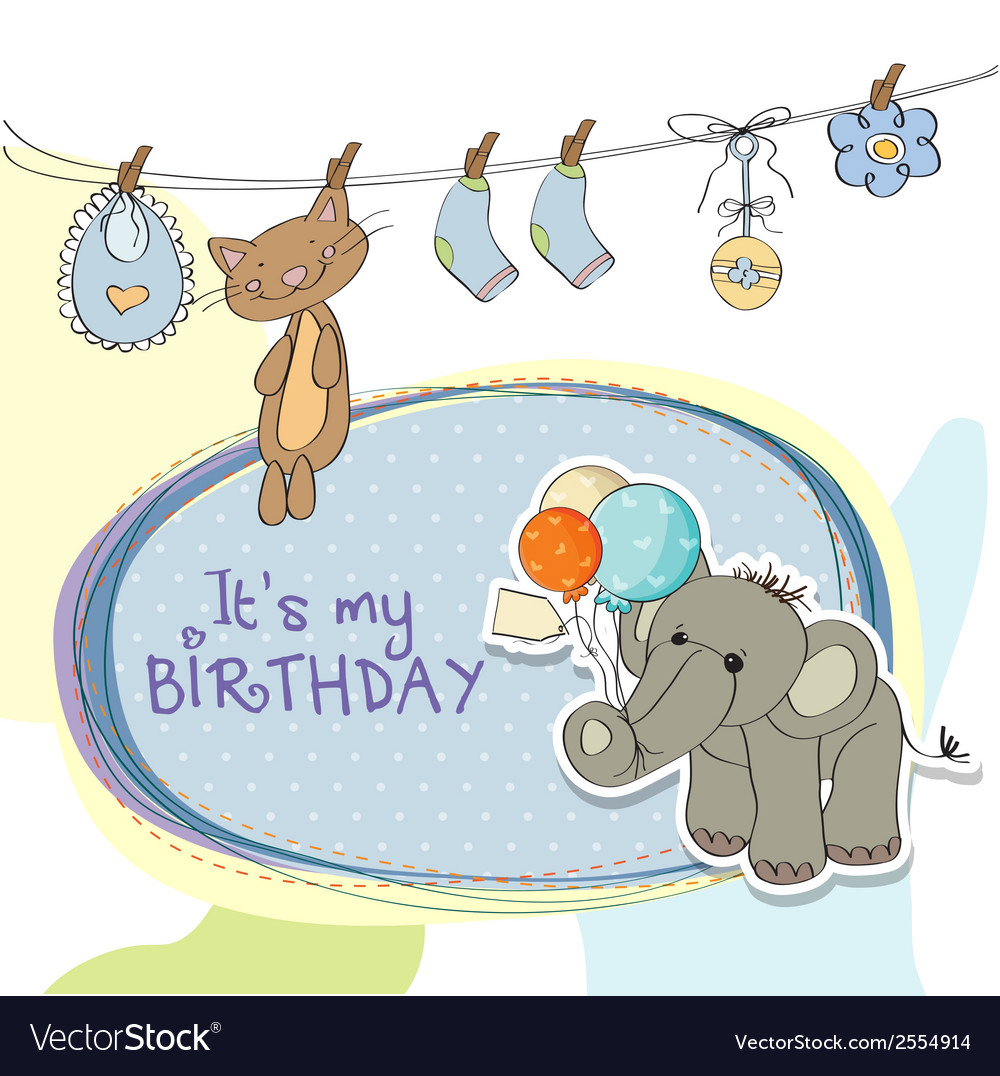 Baby boy birthday card with elephant Royalty Free Vector