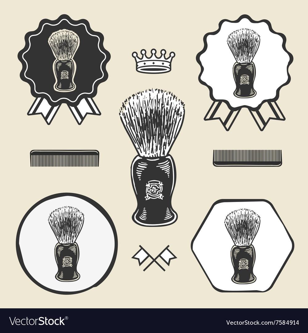 Barber shaving brush beard symbol emblem label