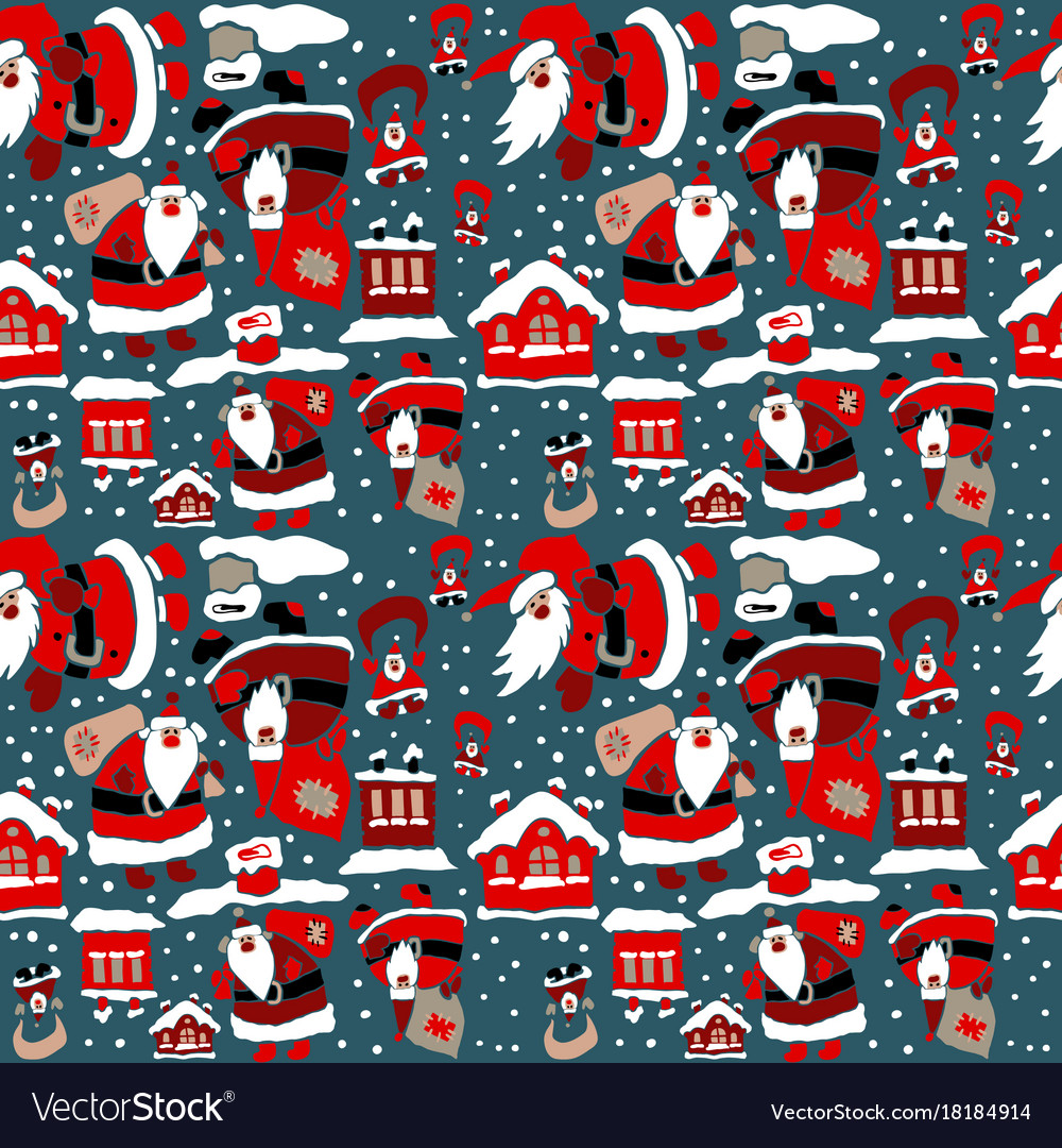 cartoon christmas wrapping paper vector image
