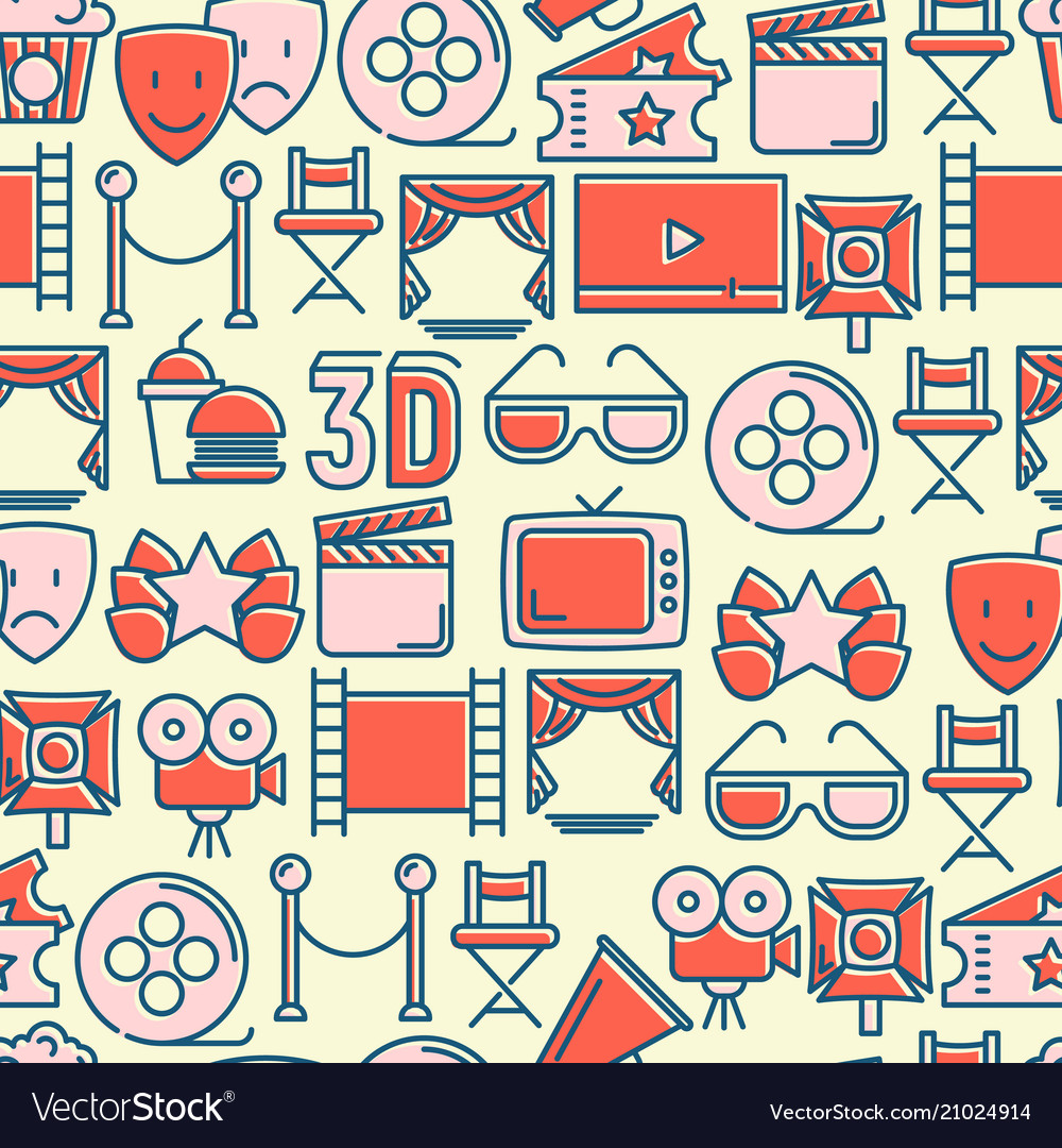 Cinema seamless pattern with thin line icons