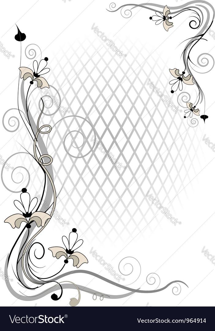Corner twig and flower vector image