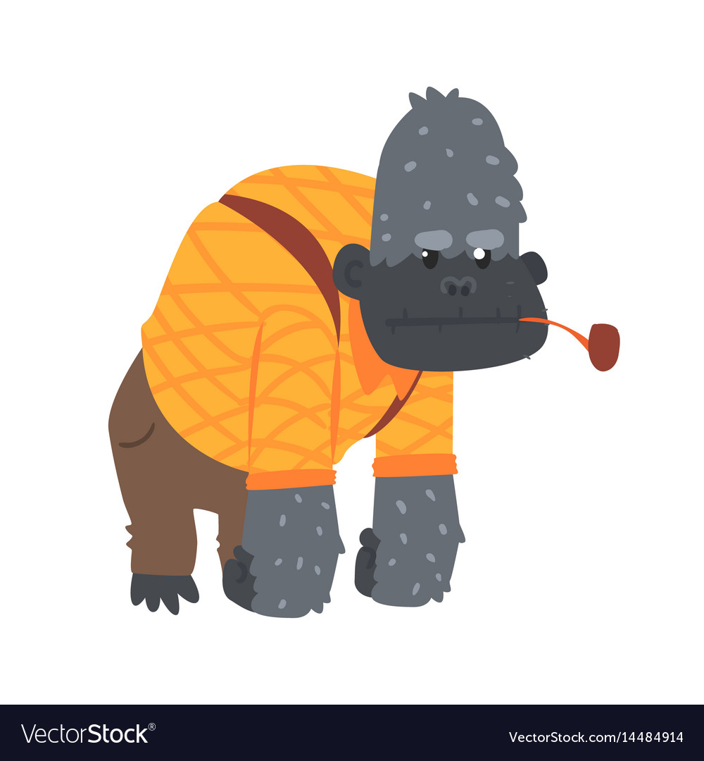 Cute cartoon gorilla in an orange shirt and brown
