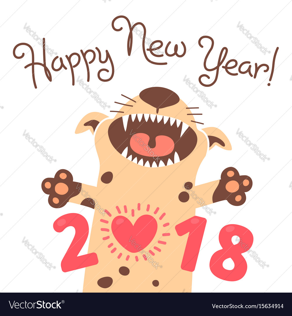 Happy 2018 New Year Card Funny Puppy Royalty Free Vector