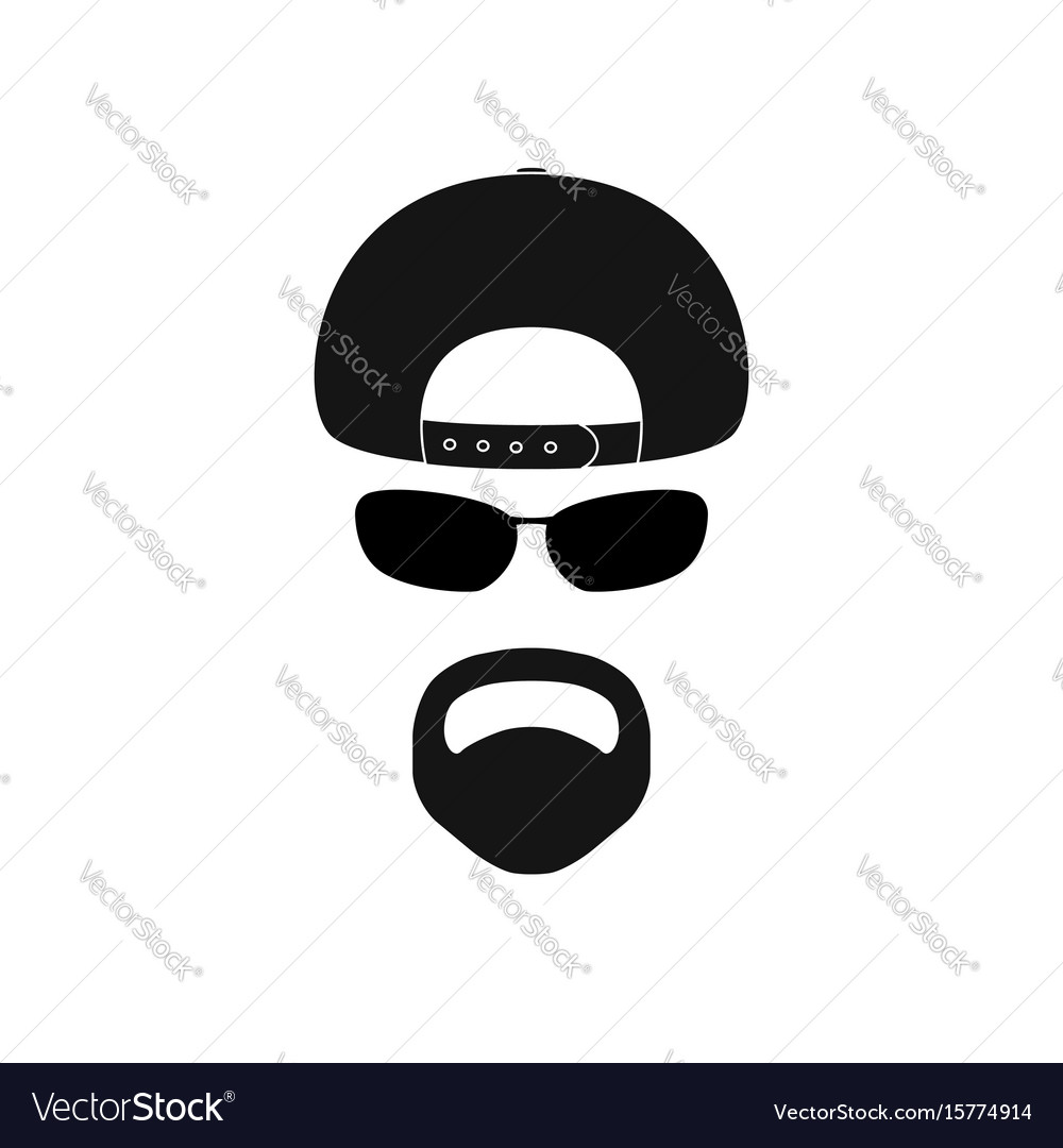 83a90f3c014 Man with baseball cap sunglasses and goatee Vector Image
