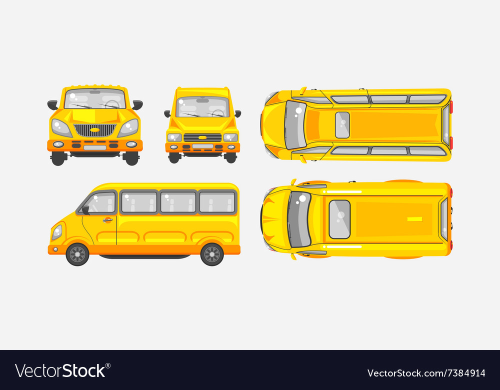 Minibus Top Front Side View Vector Image