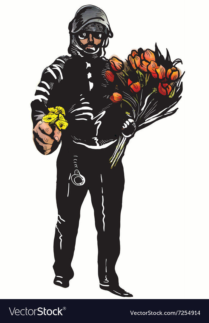 Policeman with flowers gentle hero - freehand