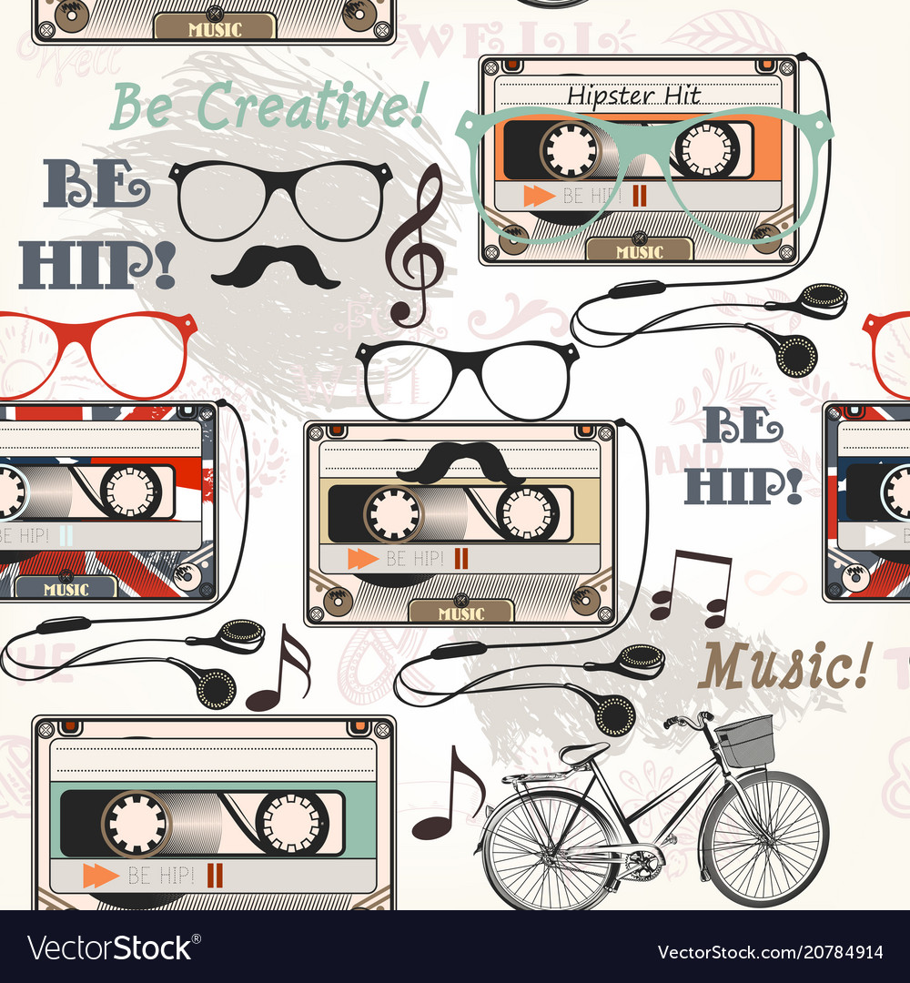 Seamless background with old cassette headphones