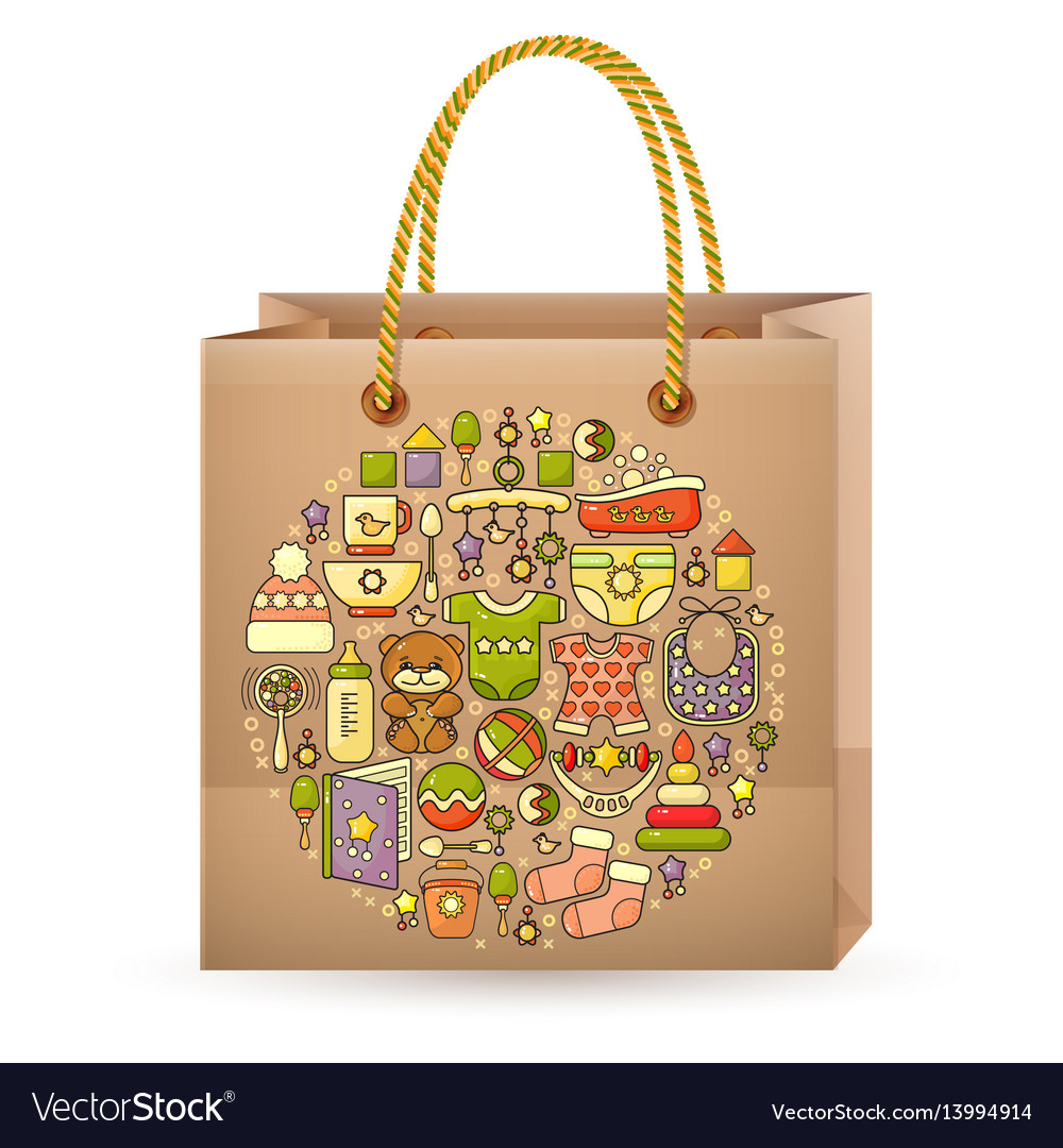 Shopping bag and cute colorful baby icon