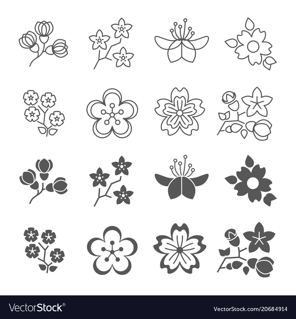 Spring blossom flowers line and silhouette icons