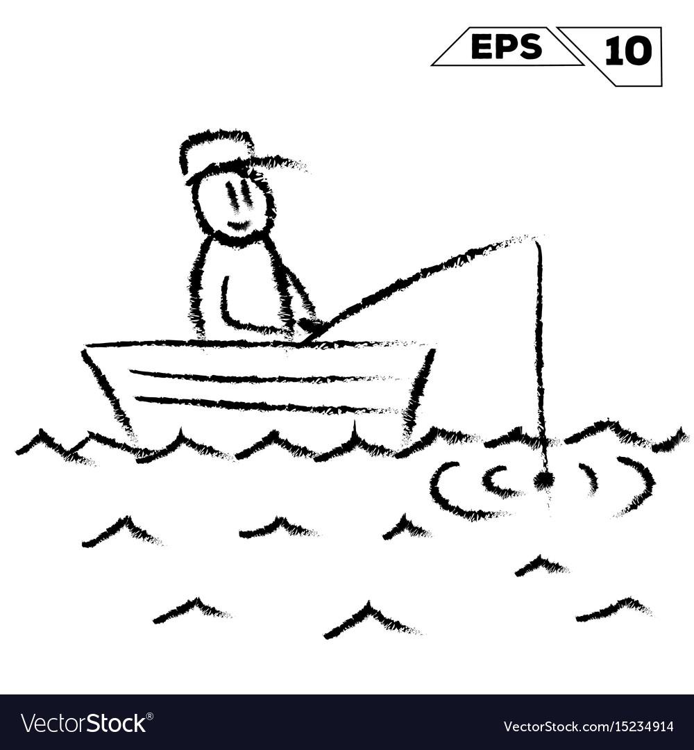 Stick figure fisherman in boat on water hand