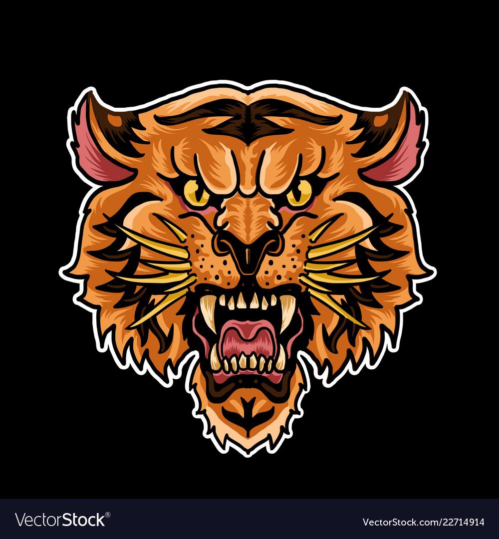 Tiger head old school symbol