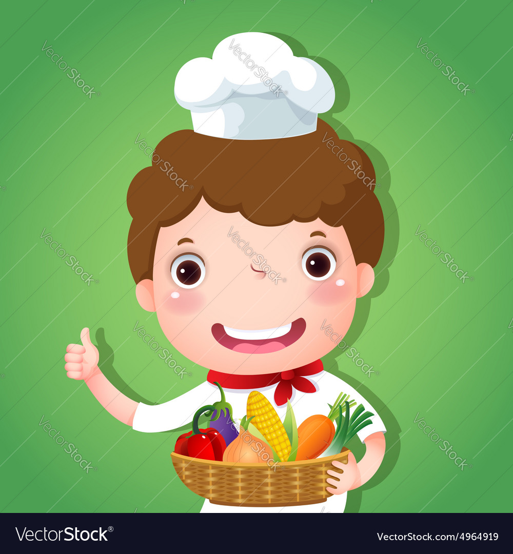 A smiling boy chef holding a basket of vegetables