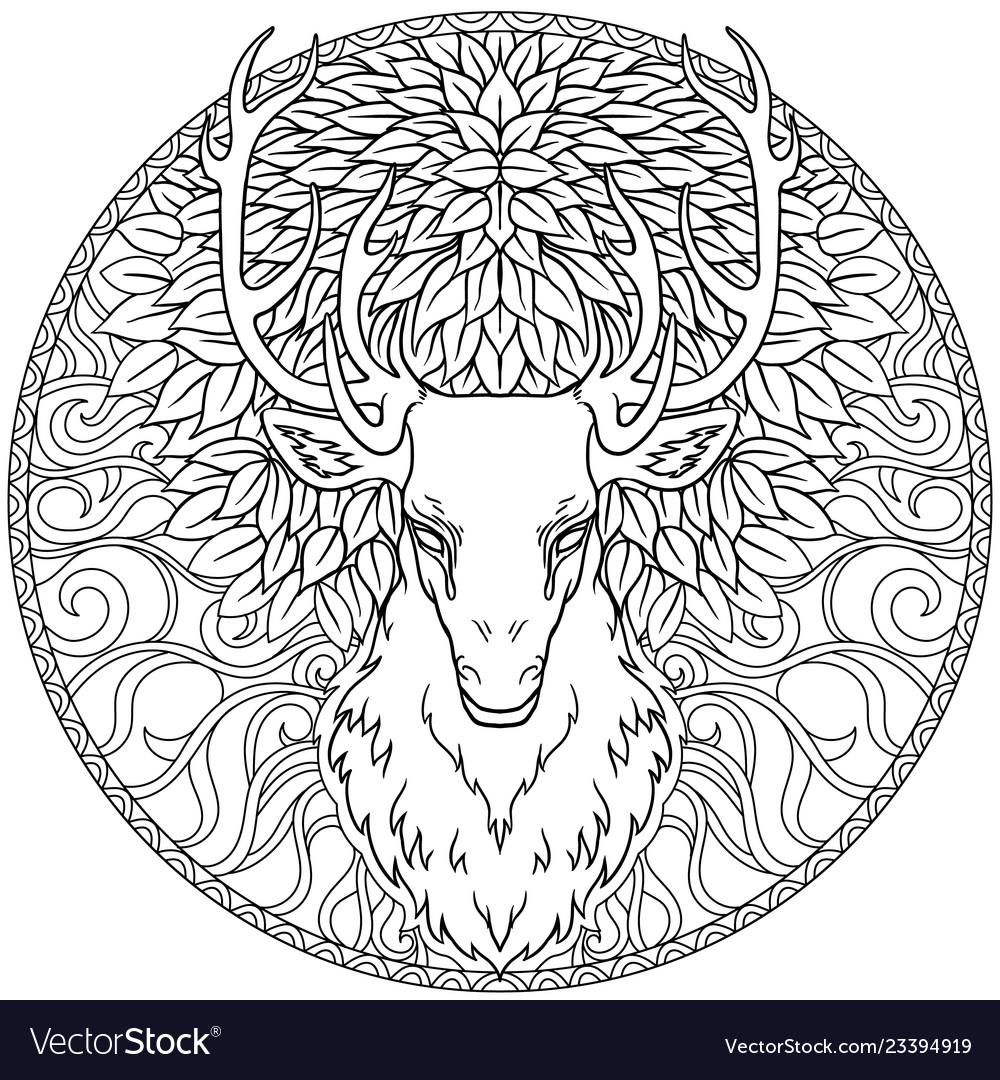 Beautiful hand drawn tribal style deer head over