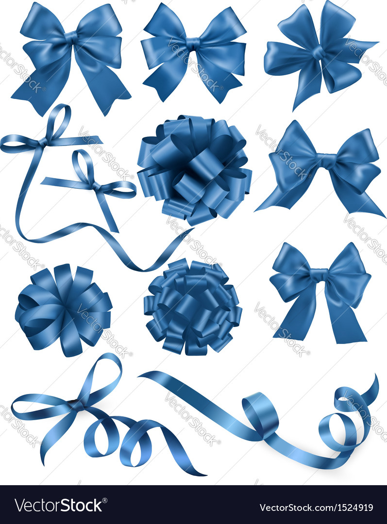 Big set of blue gift bows with ribbons