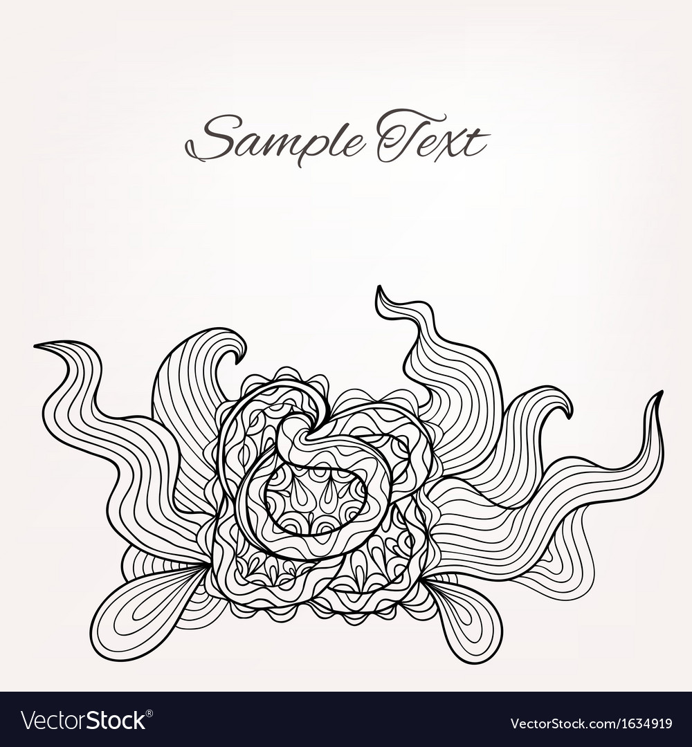 Black and white floral doodle card for Your design