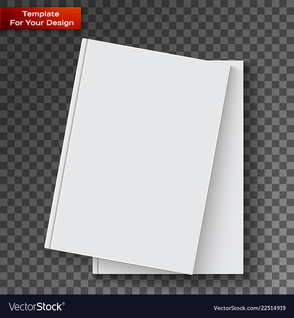 Blank book cover on transparent background