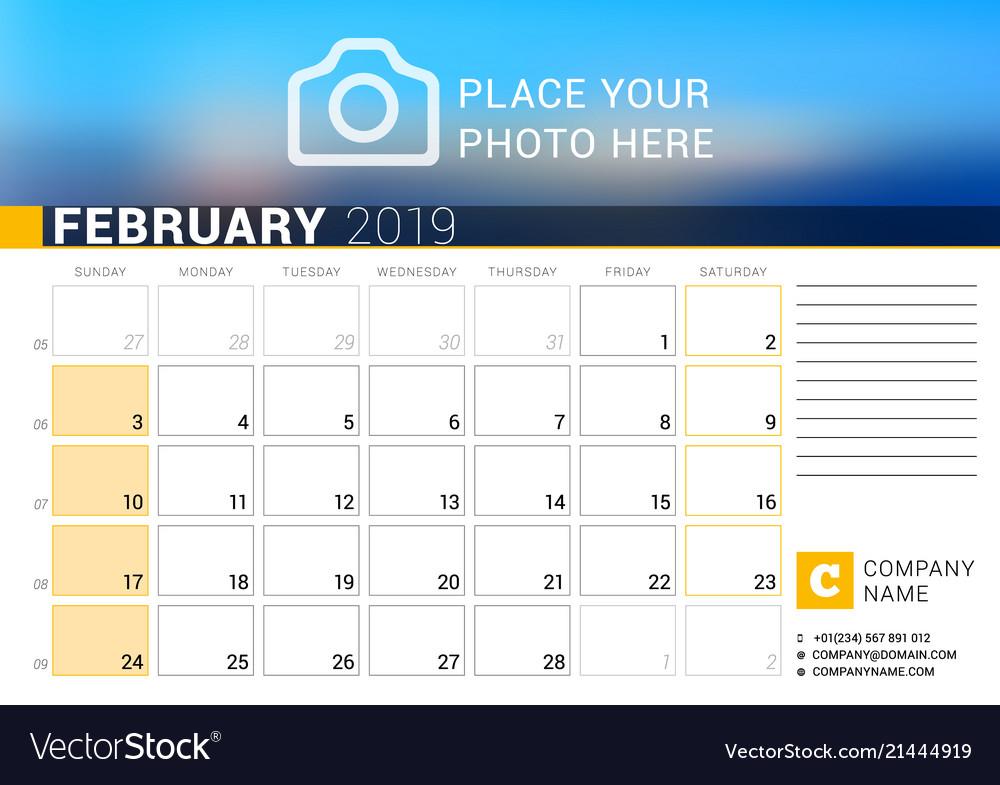 Calendar for february 2019 design print template