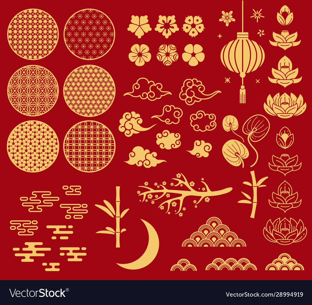 Chinese new year elements festive asian ornaments