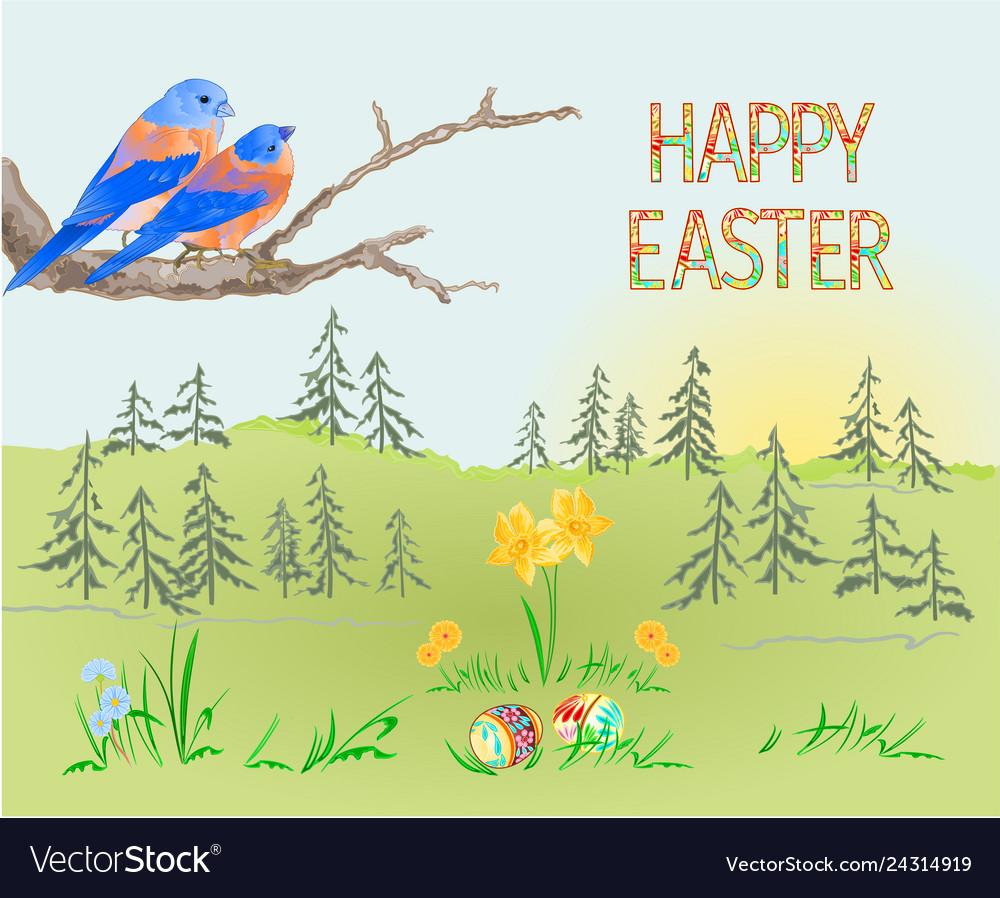 Easter spring landscape forest and birds