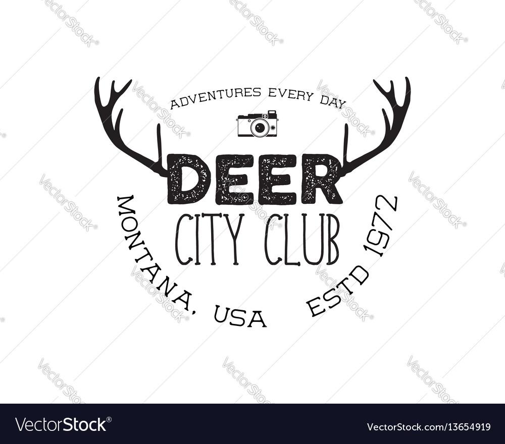 Hand drawn deer vintage badge deer city club logo vector image