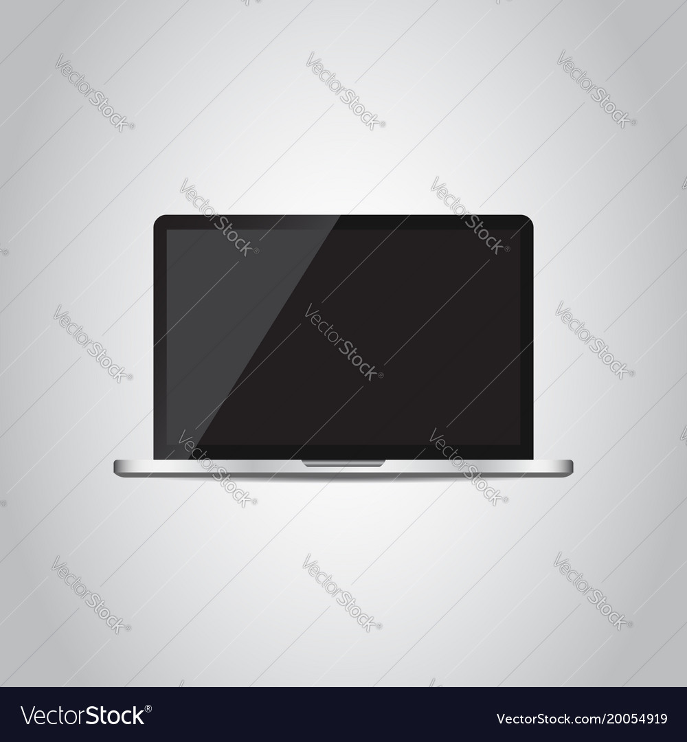 Laptop with white screen flat icon computer on