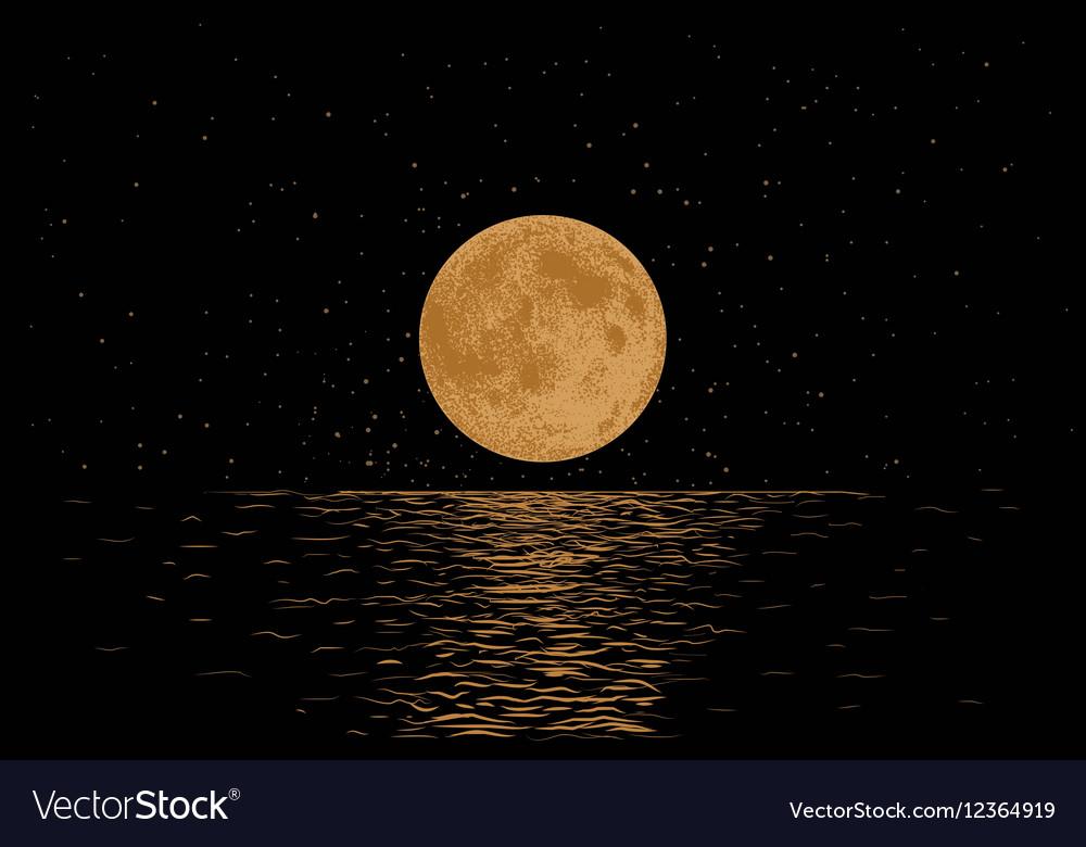 Orange moon reflecting in a sea