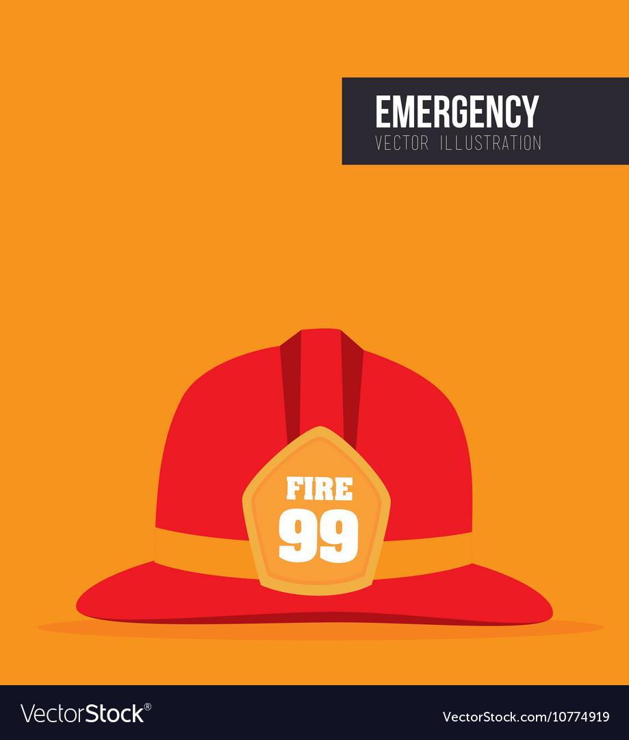 Red helmet fireman protection vector image