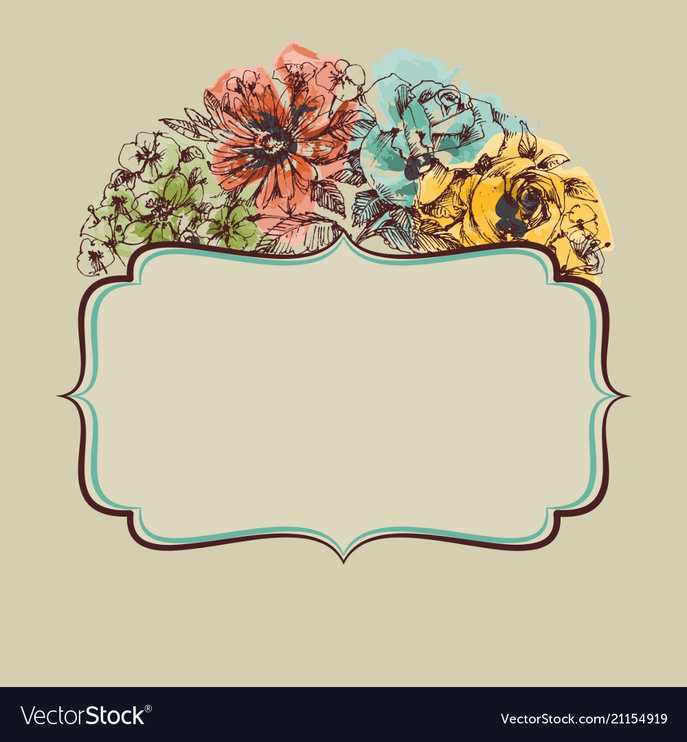 Retro colorful floral frame