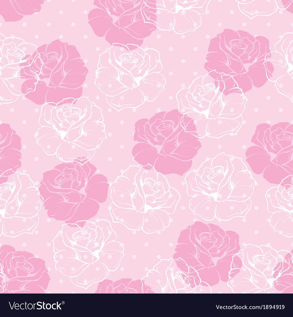 Seamless Floral Pattern With Pink And White Roses Vector Image
