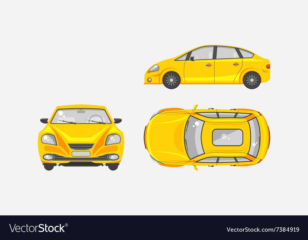 Sedan Car Top Front Side View Vector Image