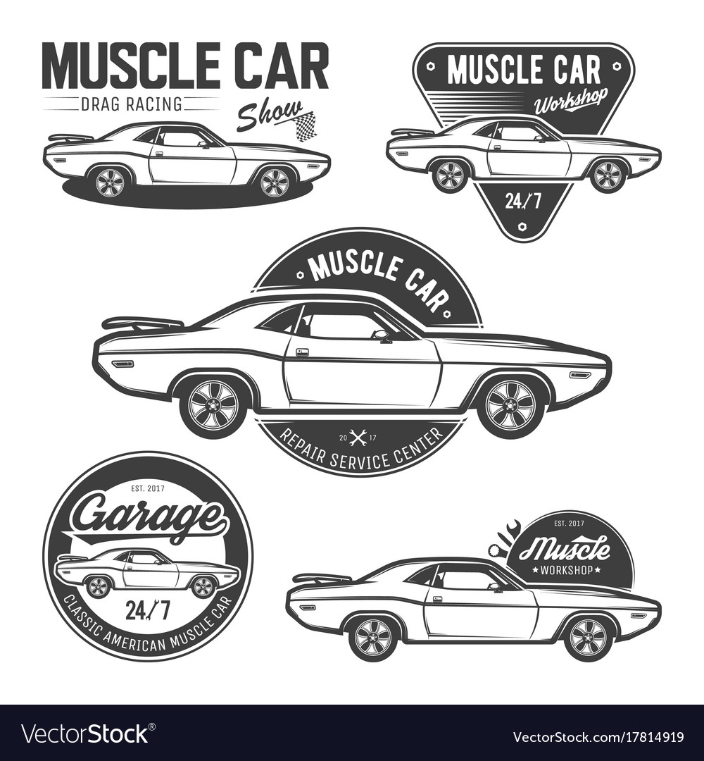 Set Of Classic Muscle Car Emblems Royalty Free Vector Image
