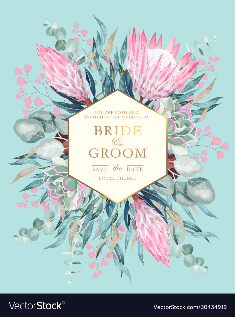 Vintage wedding card with protea and greenery