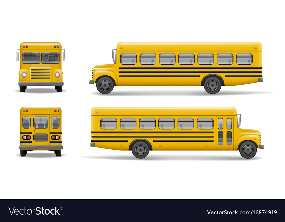 Yellow school bus front back and side view