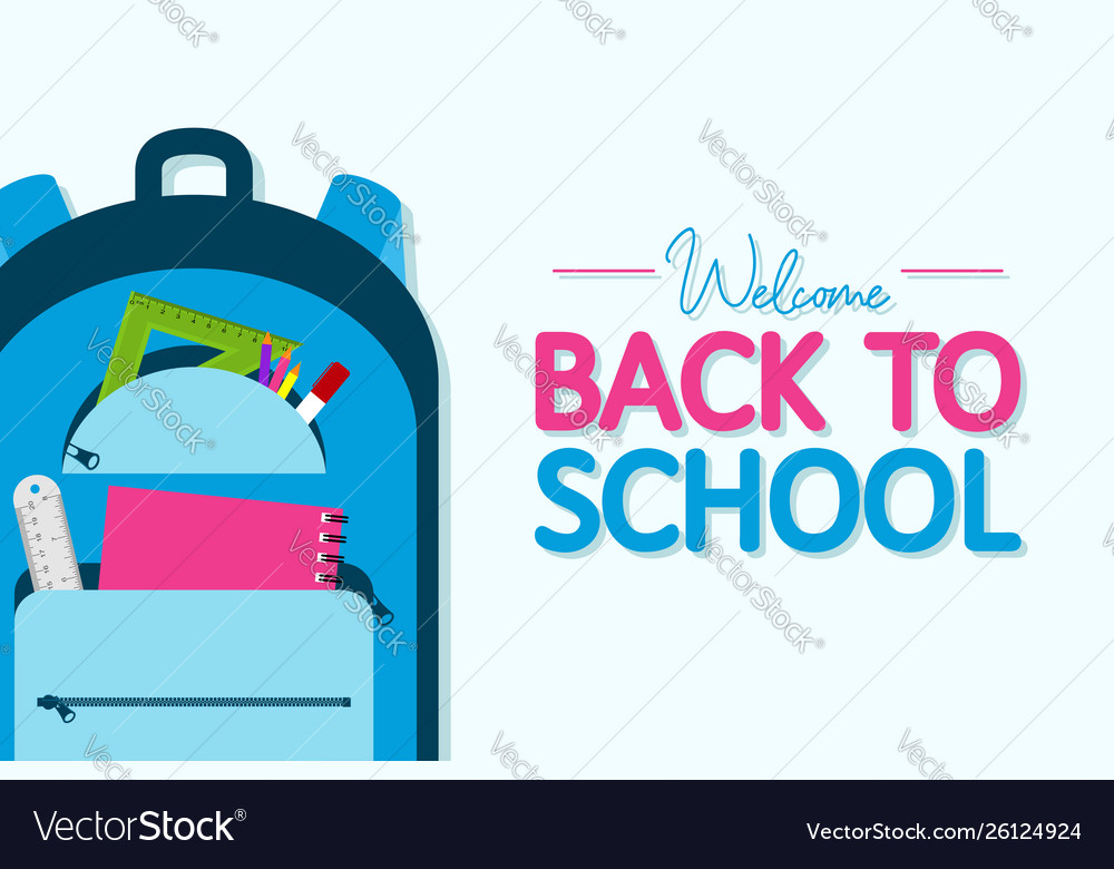 Back to school banner backpack with school