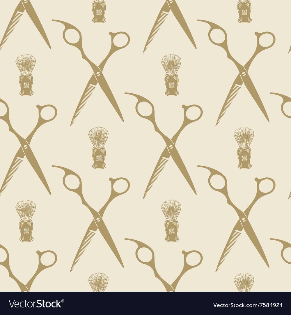 Barber scissors beard brush pattern tile