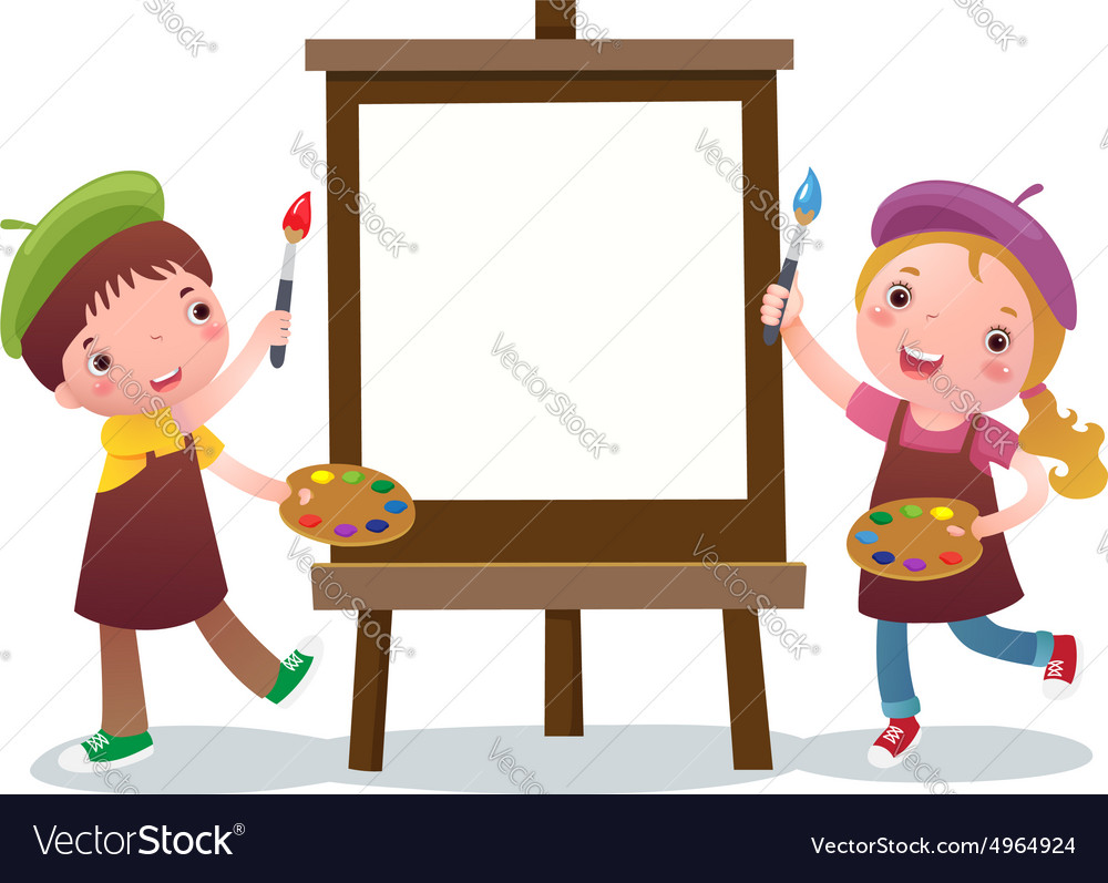 Cartoon kids with painting canvas Royalty Free Vector Image