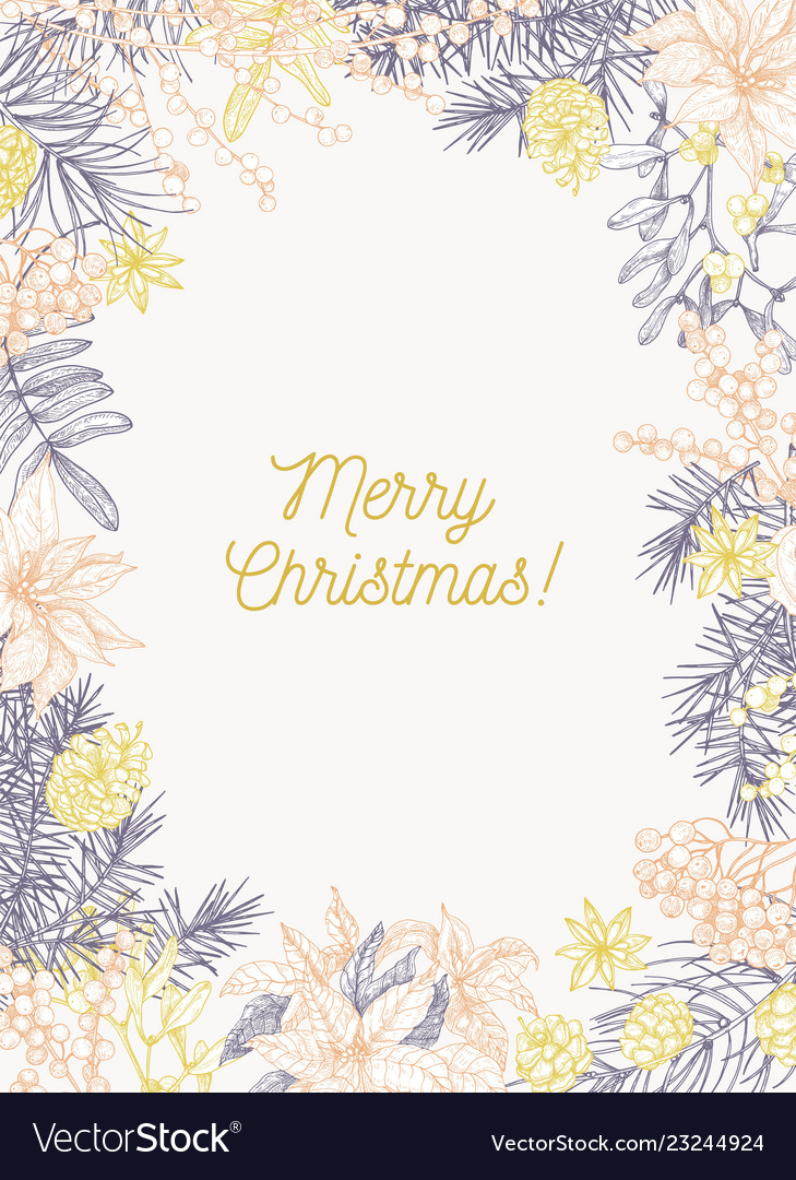 Christmas greeting card template with holiday wish