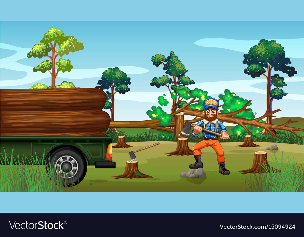 Deforestation scene with lumber chopping trees