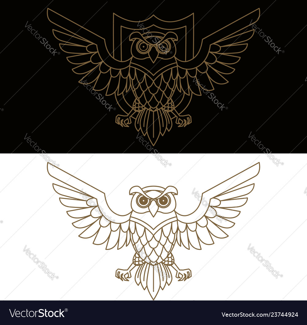 Emblem template with owl in golden style design