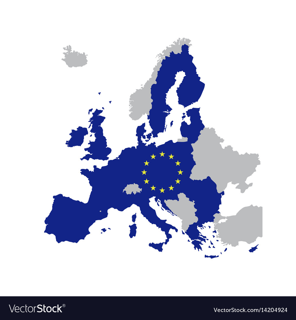 European union map with stars of the eu