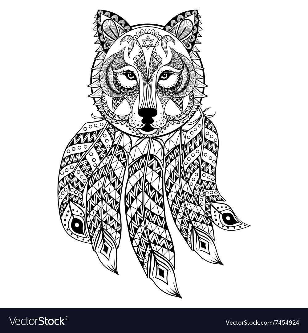 Ornamental Wolf with dreamcatcher ethnic
