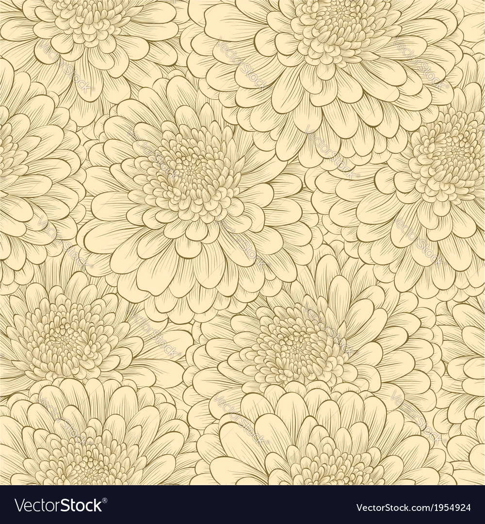 Seamless pattern with hand-drawn flowers