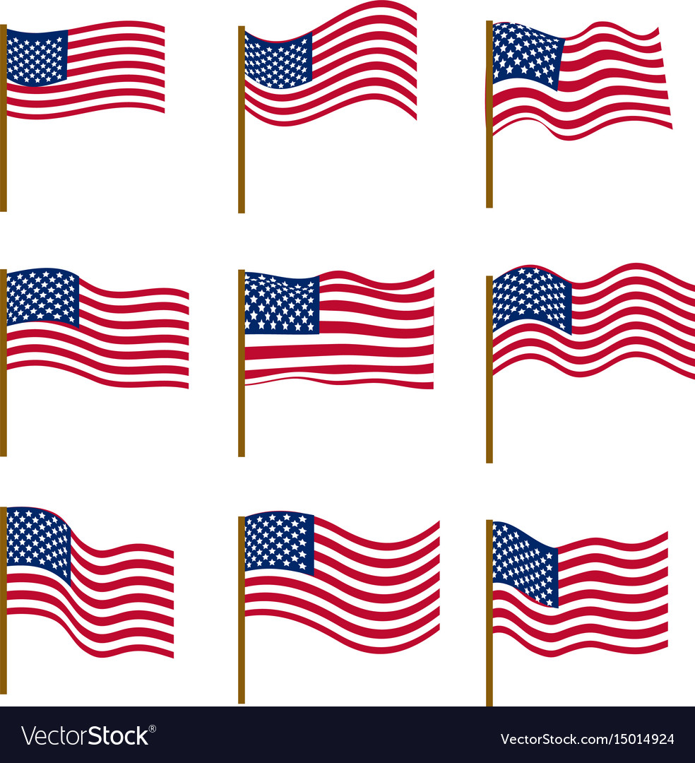 Set of flags of united states of america isolated