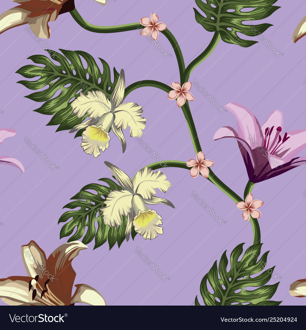 Tropical flowers leaves seamless violet background