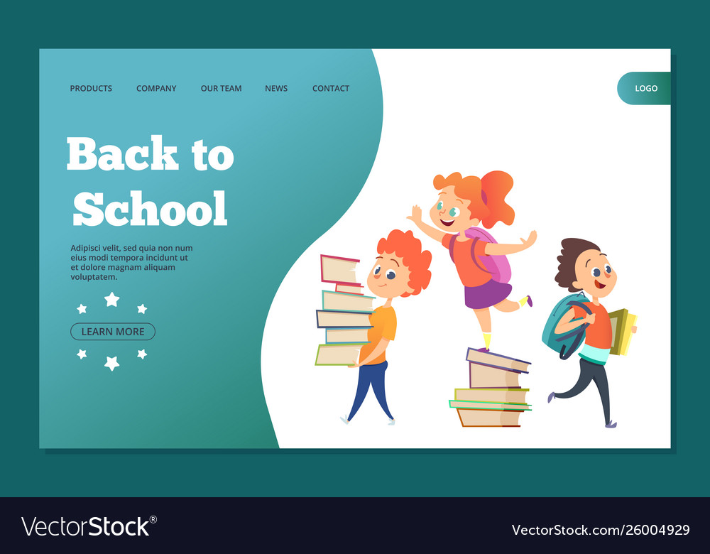 Back to school landing template web banner with