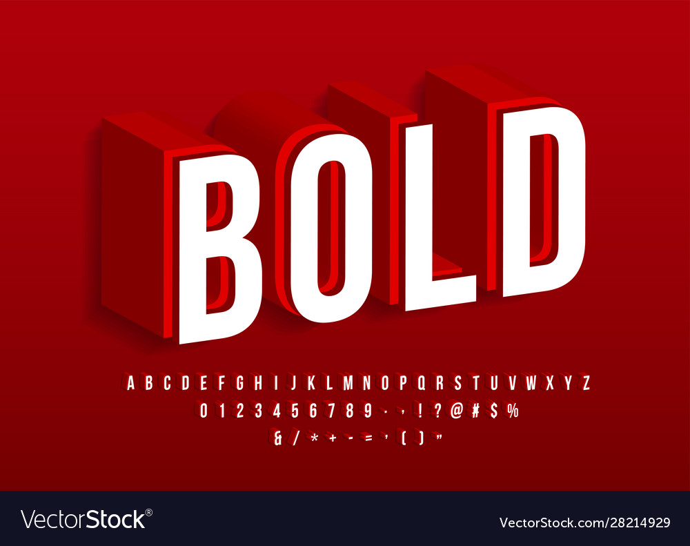 Bold strong font modern 3d alphabet red isometric